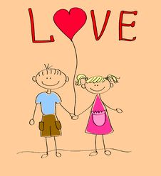 Free Boy And Girl Holding Heart Vector Royalty Free Stock Photography - 21477177