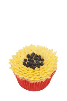 Free Vanilla Cupcake With Sunflower Decoration Royalty Free Stock Photography - 21477957