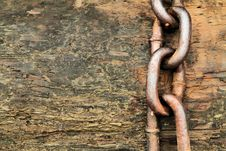 Chain On Wood Stock Photo
