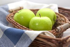 Free Green Apples In The Brown Wicker Basket Stock Image - 21478701