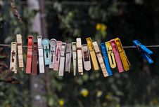 Old Clothespins Stock Photography