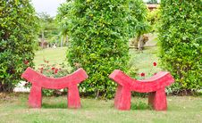 Free Red Modern Style Seat In Garden Royalty Free Stock Images - 21480389