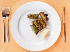 Free Meat Balls In Lemon Leafs On Plate Stock Image - 21482651