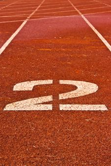 Free Number Two On The Start Of A Running Track Stock Photography - 21486872