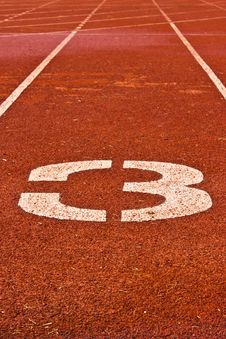 Number Three On The Start Of A Running Track Royalty Free Stock Image