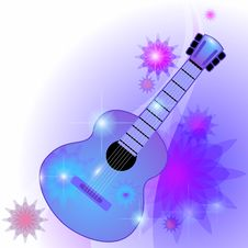 Free Blue Guitar Royalty Free Stock Photos - 21488038