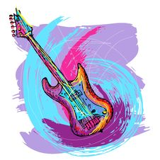 Free Hand Drawn Electric Guitar Stock Photos - 21489243
