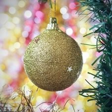 Free Gold Ball As A Decoration Stock Photo - 21489680