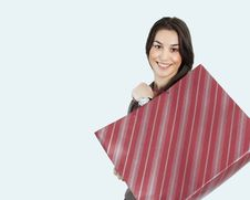 Portrait Of Lovely Young Woman With Shopping Bag Stock Photo