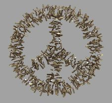 Free Peace Symbol Made Of Bullets Royalty Free Stock Photo - 21493495