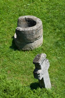 Stone Cross And Well Royalty Free Stock Photo