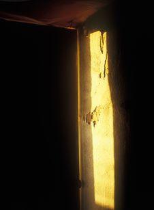 The Slightly Opened Door. Stock Photo