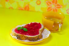 Strawberry Jam On A White Bread Tea Cup