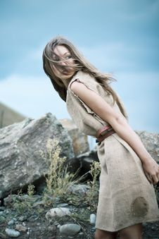 Girl In The Mountains Royalty Free Stock Photo