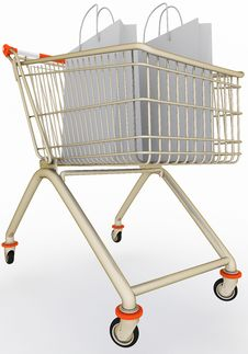 Free Shopping Cart With Paper Bags Royalty Free Stock Photos - 21499338