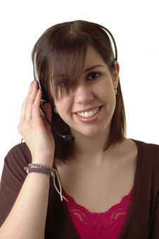 Free Talking On Headset Royalty Free Stock Photography - 2151267