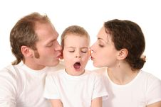 Free Son With Kissing Parents Royalty Free Stock Image - 2156156