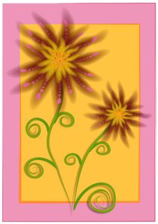 Unique Flowers Pink Yellow Royalty Free Stock Images