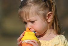 Free Little Girl Drinking Royalty Free Stock Photo - 2158795