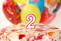 Free Birthday Candle With Flame And Balloon Background Stock Photos - 21503393
