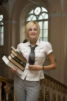Free Beautiful Student With Books Stock Photos - 21505923