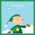 Free Xmas Elf Greeting Card Stock Photography - 21513852