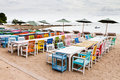 Free Tables, Chairs, Colorful Seaside Stock Photography - 21514622