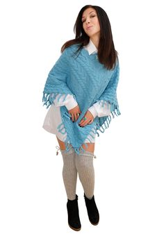 Free Nice Girl In Blue Poncho Poses For The Camera Stock Photos - 21512233