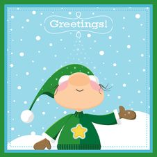 Free Xmas Elf Greeting Card Stock Photography - 21513852