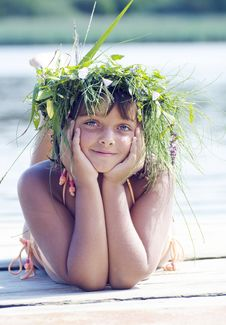 Happy Blue-eyed Girl With Wreath