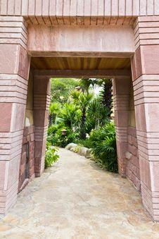 Free Stone Gate Entrance. Royalty Free Stock Image - 21516966