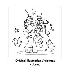 Free Christmas Coloring Royalty Free Stock Image - 21517066
