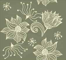 Free Seamless Texture With Flowers In Vector Stock Photo - 21519450