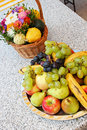 Free Flower Basket And Fruit Plateau Royalty Free Stock Photos - 21523688