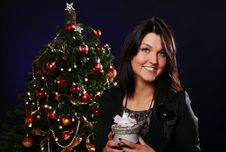 Free Happy Woman With Christmas Gift Stock Photos - 21521563