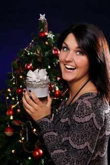 Free Happy Woman With Christmas Gift Stock Images - 21521584