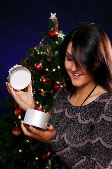 Free Happy Woman With Christmas Gift Royalty Free Stock Photo - 21521585
