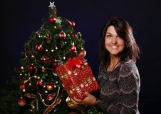Free Happy Woman With Christmas Gift Stock Photo - 21521590
