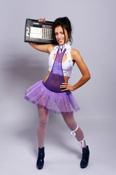 Free Freaky Woman With Old Fashioned Tape Recorder Royalty Free Stock Photos - 21521668