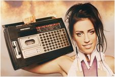 Free Freaky Woman With Old Fashioned Tape Recorder Stock Photo - 21521680