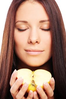 Free Beautiful Woman With Apple In Hands Stock Images - 21521744