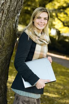 Free Young Woman With Notebook Stock Photo - 21521860