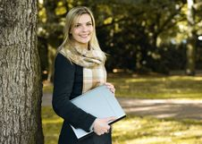 Free Young Woman With Notebook Stock Images - 21521904