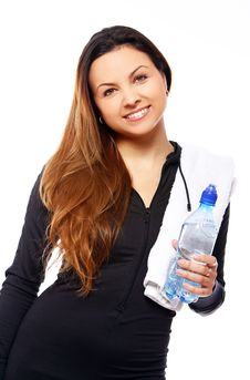Free Beautiful Smiling Woman With Bottle Of Water Stock Photography - 21522092