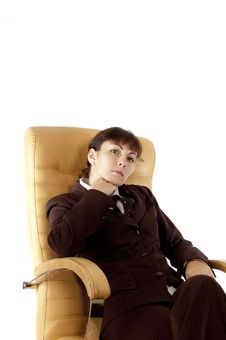 Free The Business Lady  Sits In An Armchair Stock Photo - 21522380