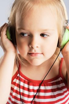 Little Girl Listening A Music Royalty Free Stock Photo