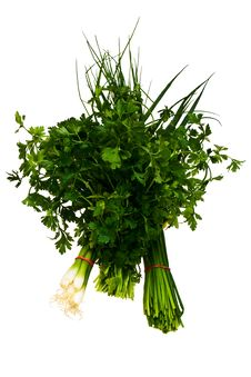 Free Chive, Bulb Onion And Parsley Bundles. Royalty Free Stock Photos - 21524628