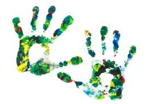 Free Close Up Of Colored Hand Print Royalty Free Stock Photography - 21528567