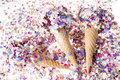 Free Ice Cream Cone With Confetti Royalty Free Stock Photos - 21532638