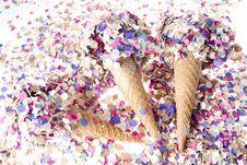 Free Ice Cream Cone With Confetti Royalty Free Stock Photos - 21532638